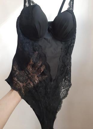 Сексуальное чёрное бомбезное боди с кружевом