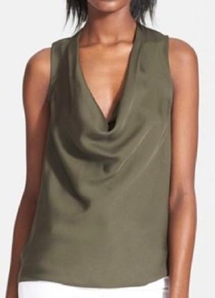 Benetton легкая майка под шелк сатиновая стильная как из zara оливковая кремовая