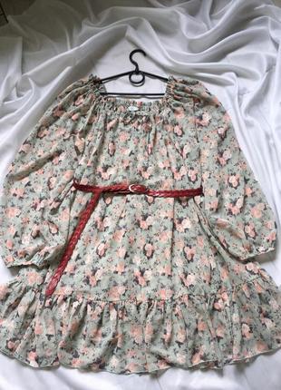 Платья с рюшами в цветочный принт🌸
