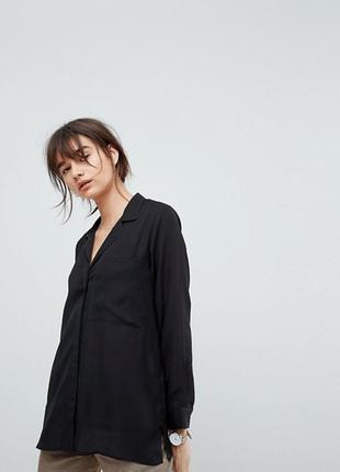 Mexx metropolitan черная рубашка брендовая оригинал прямая с карманами ххс 32