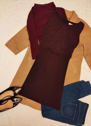 Стрейчевое платье бордо винное марсала бургунди большое батал папайа