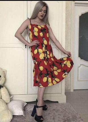 Платье легкое летнее с принтом лимоны долче габбана