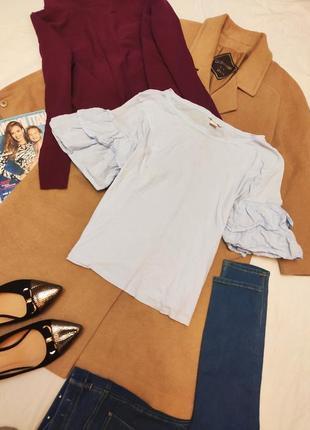 H&m блуза с воланами на рукавах свободная оверсайз трикотажная тонкая голубая