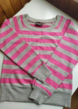 Женский модный стильный джемпер реглан свитер в полоску