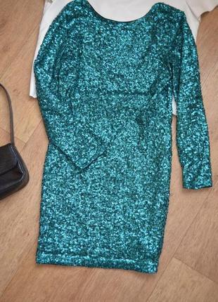 H&m платье в стразах в пайетках зеленое вечернее нарядное праздничное в паетках3 фото