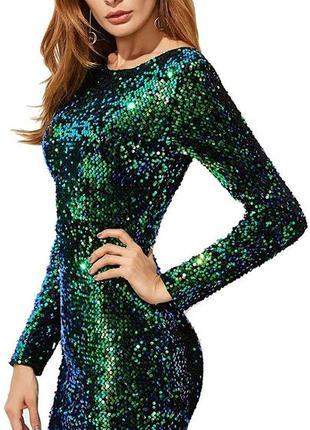H&m платье в стразах в пайетках зеленое вечернее нарядное праздничное в паетках1 фото