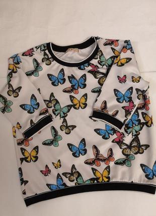 Футболка - блузка t. w. в принт с бабочками