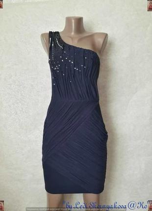 Фирменное lipsy нарядное мини-платье на одно плечё с паетками и фатином, размер м-ка