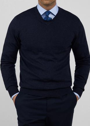 🎁1+1=3 шикарный теплый шерстяной синий мужской свитер hema, 100% шерсть, размер 50 - 52