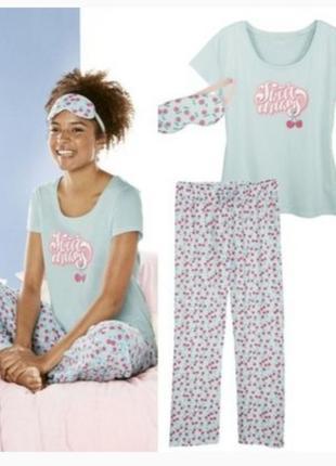 Яркая женская пижама тройка футболка и штаны вишенки esmara