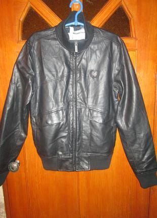 "Новая стильная кожаная куртка, бомбер. ""zoo york"""
