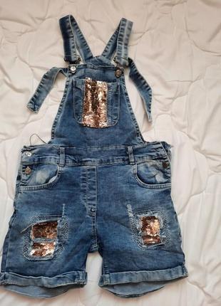 Комбез джинсовый на девочку 6-7 лет