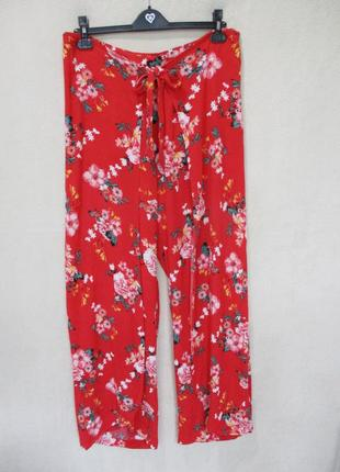 Яркие широкие штаны с запахом/штаны-юбка/палаццо/в цветочный принт