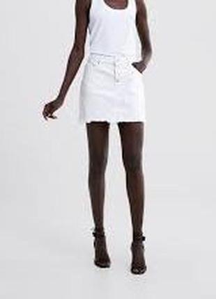 🌿1+1=3 белая короткая плотная джинсовая юбка с необработанным краем zara, размер 42 - 44