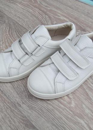 Белые кеды кожаные для девочки на липучке 32--40размер