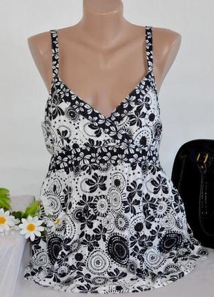 Брендовая черно-белая коттоновая майка топ cherokee принт цветы