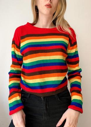 Новый лёгкий свитер гольфик радуга