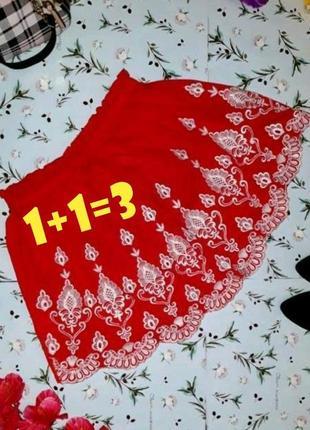 🌿1+1=3 нарядная короткая красная юбка с кружевной вышивкой new look, размер 46 - 48