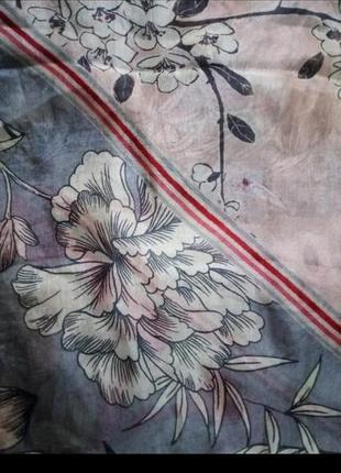 Натуральный шелк шарфик в цветочный принт