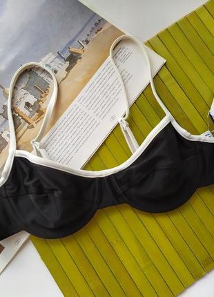 Новый базовый лиф верх от купальника без поролона на косточках черный белый