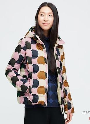 Куртка легкая, пуховик women marimekko ultra light down parka от uniqlo размер м pink