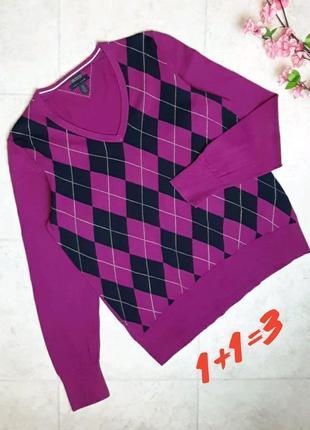 1+1=3 фирменный розовый тонкий свитер лонгслив в ромбик tommy hilfiger, размер 50 - 52
