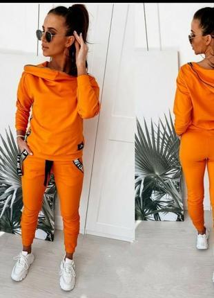 Яркий оранжевый спортивный костюм спортивные штаны кофта