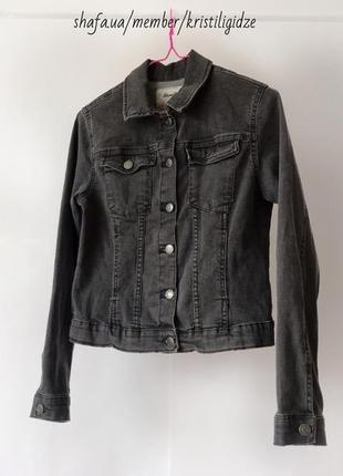 Стильная джинсовая куртка-рубашка курточка серая р. s