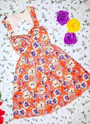 🌿1+1=3 крутое оранжевое короткое платье плаття цветочный принт kelly brook, размер 42 - 44