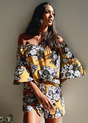 Штапельные шорты большого размера цветочный принт