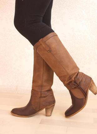Кожаные сапоги на каблуке, натуральная мокрая кожа, нубук, бренд wrangler