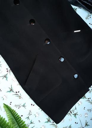 🌿1+1=3 классическое черное пальто шерсть + кашемир x-woyz демисезон, размер 46 - 483 фото