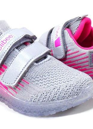 Led кроссовки детские на девочку тм clibee f865 размеры 27- 32