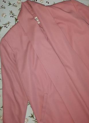 🌿1+1=3 стильное длинное нежно розовое пальто 45% шерсть демисезон осеннее, размер 48 - 505 фото