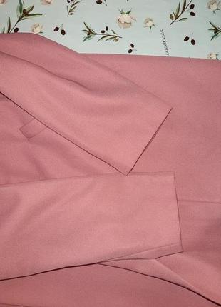 🌿1+1=3 стильное длинное нежно розовое пальто 45% шерсть демисезон осеннее, размер 48 - 503 фото