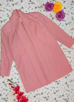 🌿1+1=3 стильное длинное нежно розовое пальто 45% шерсть демисезон осеннее, размер 48 - 507 фото