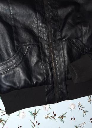 🌿1+1=3 крутая кожаная черная куртка на молнии therapy демисезон, размер 46 - 482 фото