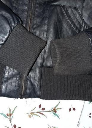 🌿1+1=3 крутая кожаная черная куртка на молнии therapy демисезон, размер 46 - 4810 фото