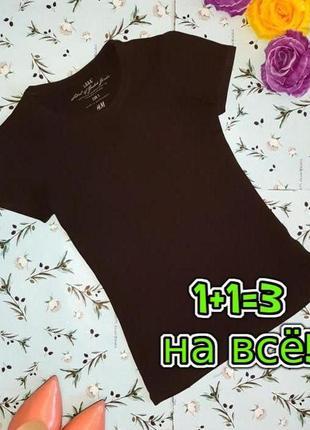 🌿1+1=3 базовая фирменная коричневая однотонная футболка из трикотажа h&m, размер 44 - 46