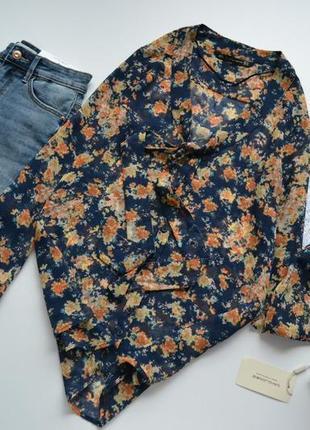Блуза синя в принт квіти zara
