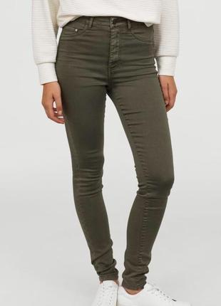 Фирменные джинсы, скинни штаны хаки h&m