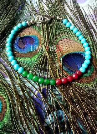 Разноцветный браслет из бирюзы бирюза изумруд рубин