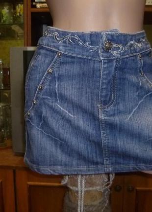 Брендовая мини юбка с вышивкой весна-лето-осень синяя короткая юбка