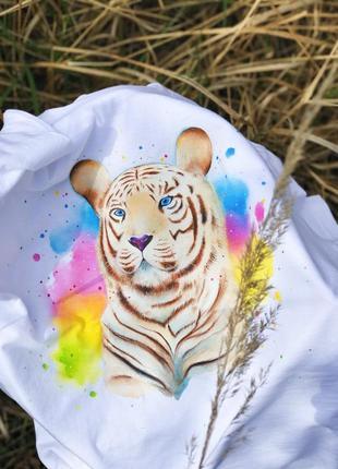 """Футболочка (handmade) """"тигр""""."""
