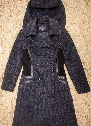 Пальто nui very с кожаными вставками