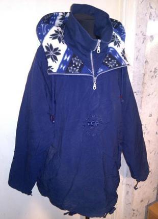 Классная,спортивная куртка-анорак-дождевик с карманами,с этно-капюшоном,большого размера