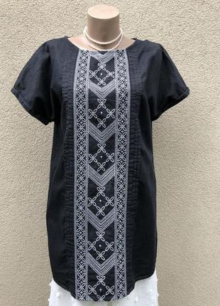 Чёрное,джинс платье реглан,туника с вышивкой,хлопок,этно бохо стиль,