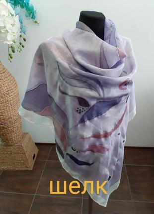 Большой платок италия шелк ручная работа шов роуль батик