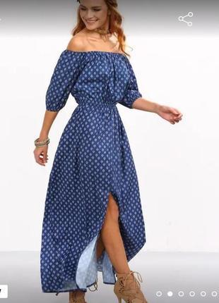 Синее длинное платье,легкое,сша