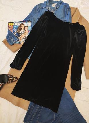 Чёрное велюровое платье прямое с длинным рукавом дороти перкинс